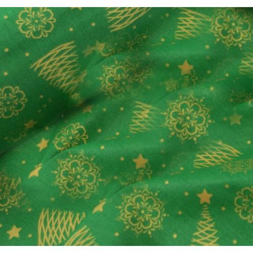 Ткань хлопок Золотистые ёлочки и снежинки (глиттер) на зеленом фоне, фото