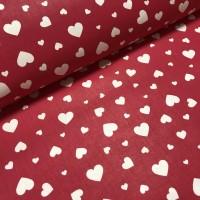 Ткань хлопок Сердца белые на красном фоне, 40*50 см