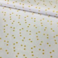 Ткань хлопок ЛЮКС золотые (глиттер) звезды на белом фоне, 40*50 см