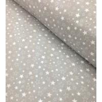 Ткань хлопок Звездопад бело-серый на сером фоне, 40*50 см