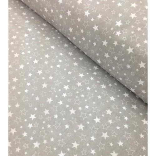 Ткань хлопок Звездопад бело-серый на сером фоне фото