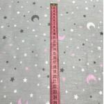 Ткань хлопок Месяц и звезды белые, серые и розовые на сером фоне фото