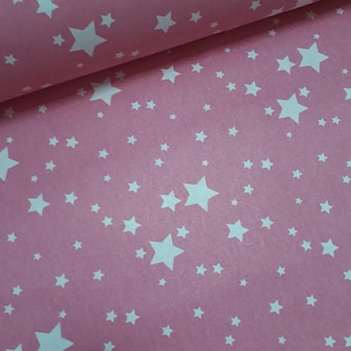 Ткань хлопок Белый звездопад на розовом фоне фото