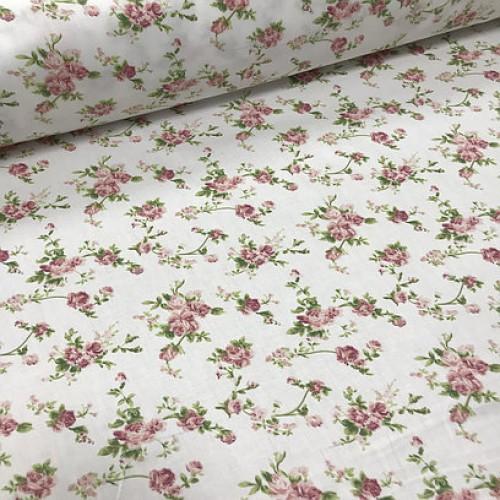 Ткань хлопок (сатин) Цветы мелкие на белом фоне фото