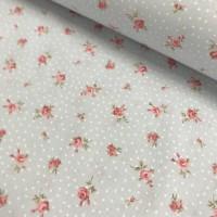 Ткань хлопок (поплин) Розовые цветы с белым горохом на голубом фоне, 40*50 см