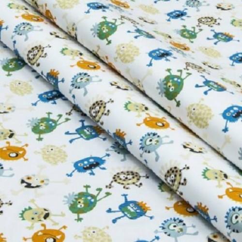 Экокоттон Монстрики разноцветные,фон молочный , 30*50 см