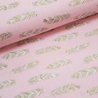 Ткань хлопок (поплин) Перья золотистые (глиттер) на розовом фоне, 40*50 см