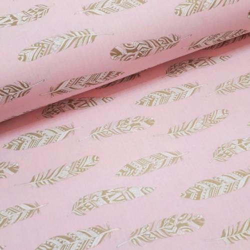 Ткань хлопок (поплин) Перья золотистые (глиттер) на розовом фоне фото