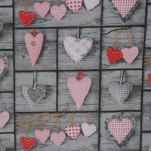 купить ткань хлопок Красные сердца на сером