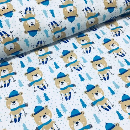 Ткань хлопок Мишки в синих шарфиках на синих лыжах на белом фоне фото