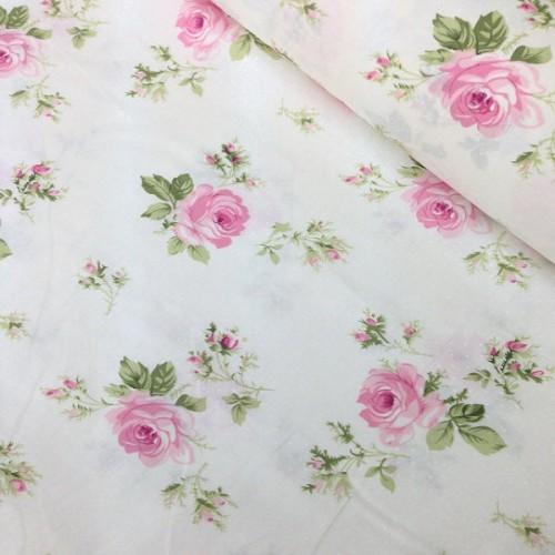 купить ткань хлопок розы на светло-бежевом фоне