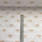 Ткань хлопок Золотые бриллианты на белом, 40*50