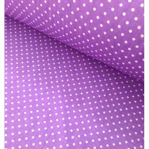 Ткань хлопок Белый горох на фиолетовом, 40*50