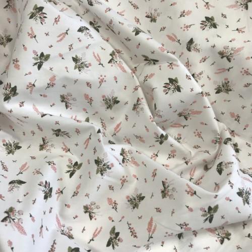 Ткань хлопок (сатин) Маленькие розовые цветочки на белом фоне фото