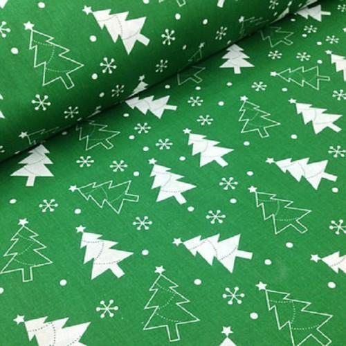 Хлопковая ткань Елочки на зеленом фоне фото