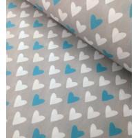 Ткань хлопок Сердца бирюзовые и белые на сером фоне, 40*50 см