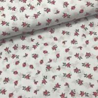Ткань хлопок Мелкие розовые цветы на белом фоне, 40*50 см