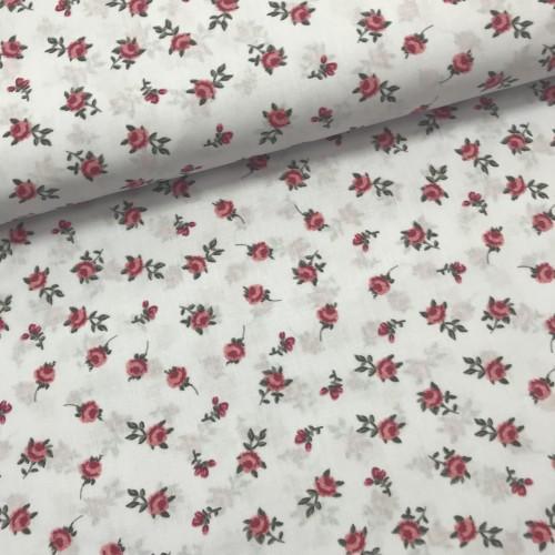 Ткань хлопок Мелкие розовые цветы на белом фоне фото