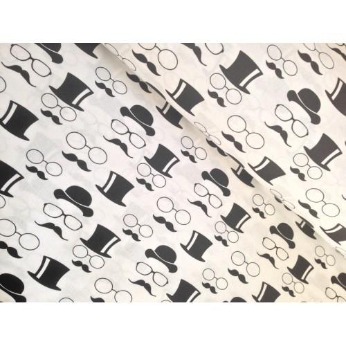 Хлопковая ткань Черные шляпы и усы на белом фоне, 40*50 см