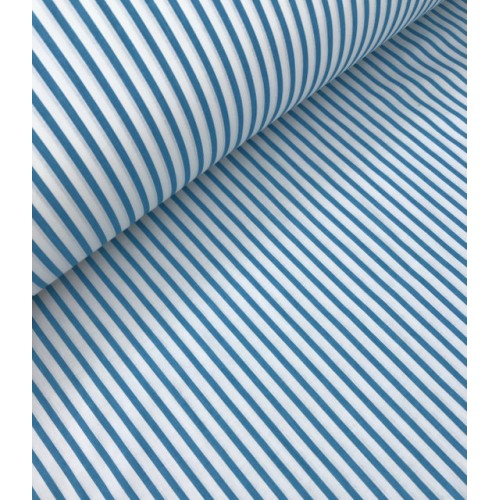 Ткань хлопок Полоска бирюзовая 5 мм фото