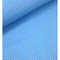 Ткань хлопок Горошек 4 мм на голубом фоне, 40*50 см
