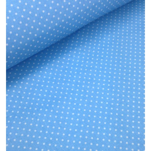 Ткань хлопок Горошек 4 мм на голубом фоне фото