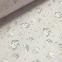 Ткань хлопок Мелкие единороги с облаками на розовом фоне, 40*50 см