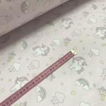 Ткань хлопок Мелкие единороги с облаками на розовом фоне фото