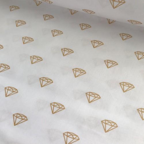 Ткань хлопок ЛЮКС Золотые бриллианты на белом фоне фото
