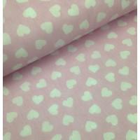 Ткань хлопок Сердца белые на розовом фоне, 40*50 см