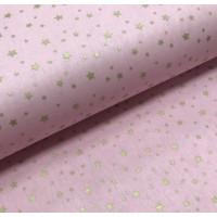Ткань хлопок поплин Золотистый звездопад (глиттер) на розовом фоне, 40*50 см