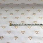 Ткань хлопок ЛЮКС Золотые бриллианты на белом фоне, 40*50 см