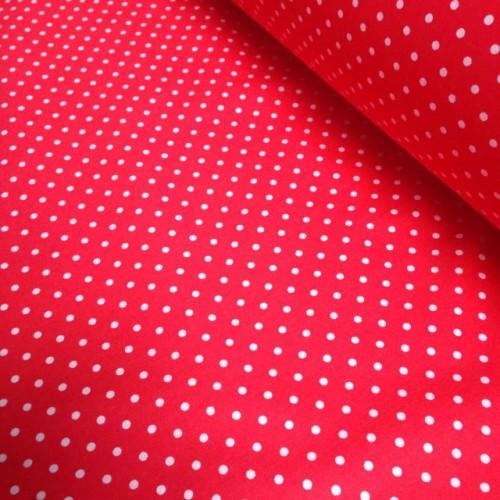 Ткань хлопок Горошек на красном фоне фото