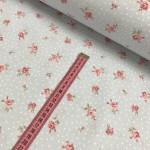 Ткань хлопок (поплин) Розовые цветы с белым горохом на голубом фоне фото