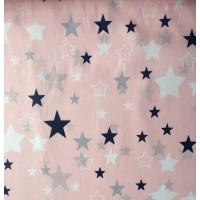 Ткань хлопок звезды синие, белые, серые большие и маленькие на розовом фоне, 40*50 см