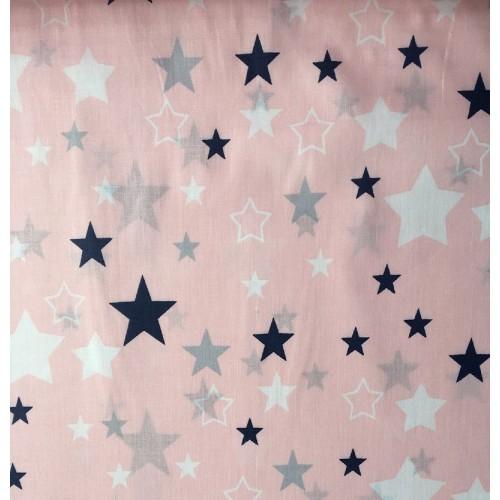Ткань хлопок звезды синие, белые, серые большие и маленькие на розовом фоне фото