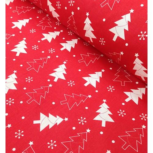 Хлопковая ткань Елочки на красном фоне фото