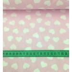 Ткань хлопок сердца белые на розовом, 40*50