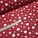 Ткань хлопок сердца большие и маленькие белые на красном фоне фото