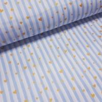 Ткань хлопок Голубая полоска с золотыми (глиттером) сердечками на белом фоне, 40*50 см