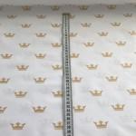 Хлопковая ткань ЛЮКС золотые короны на белом №17, 40*50