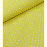 Хлопковая ткань Горошек белый 4 мм на желтом фоне, 40*50 см