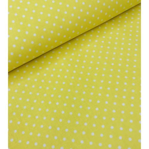 Хлопковая ткань Горошек белый на желтом фоне фото