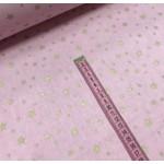 Ткань хлопок поплин Золотистый звездопад (глиттер) на розовом фоне фото