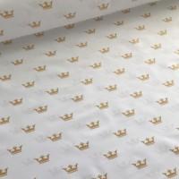 Хлопковая ткань ЛЮКС Золотые короны на белом фоне, 40*50 см