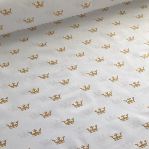Хлопковая ткань ЛЮКС Золотые короны на белом фоне фото