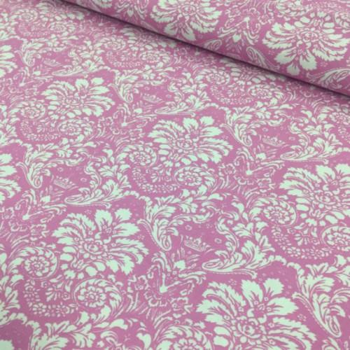 Ткань хлопок Дамаск белый на розовом фоне