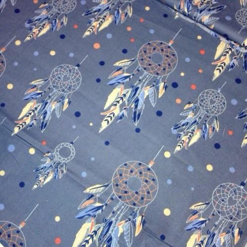 Ткань хлопок Ловец снов на синем фоне