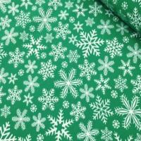 Ткань хлопок Снежинки на зеленом фоне, 40*50 см