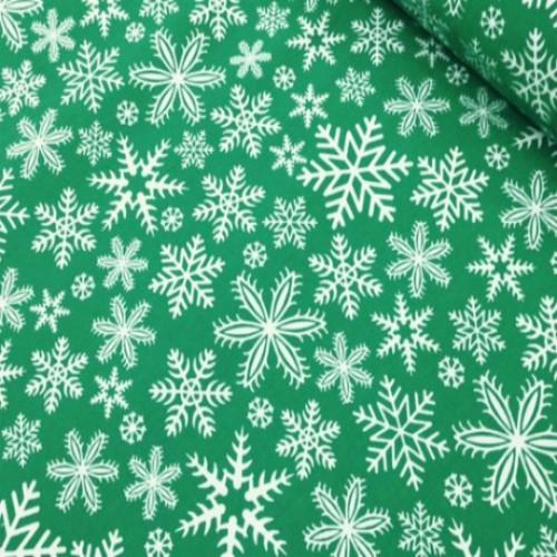 Ткань хлопок Снежинки на зеленом фоне